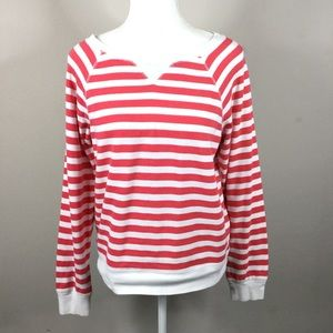 Forever 21 coral pink striped sweatshirt